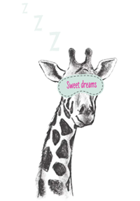 Giraffe with sleeping mask