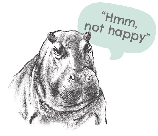 Hippo with bubble speech 'not happy'